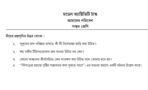 Model Activity Task Class 5 Amader Poribesh Part 1 Answers